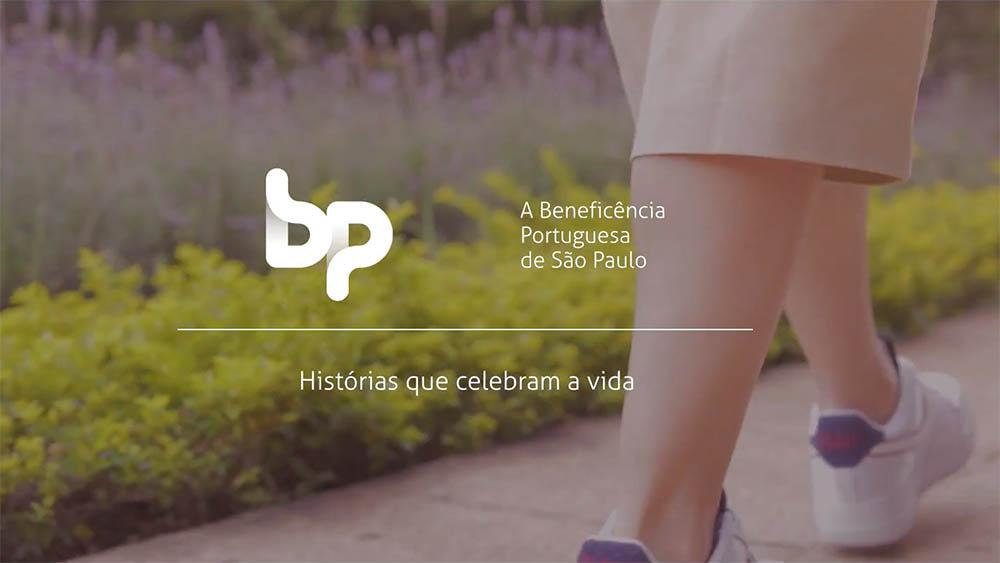 """Thumbnail com logo da Beneficência Portuguesa e o texto """"Histórias que celebram a vida""""."""