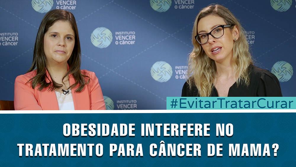 """Thumbnail com o texto """"obesidade interfere no tratamento para câncer de mama?""""."""