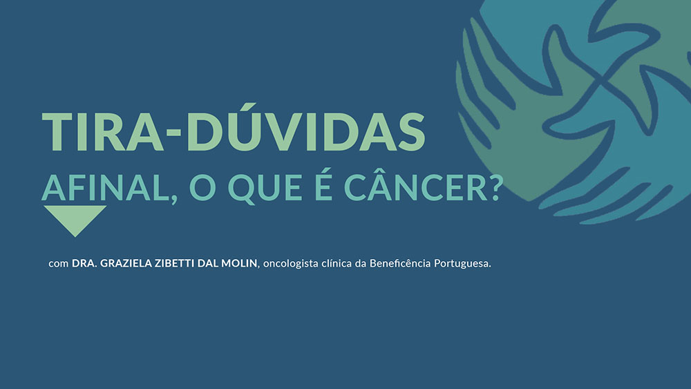"""Fundo azul com logo do IVOC e texto """"Tira-dúvidas dia mundial do câncer""""."""