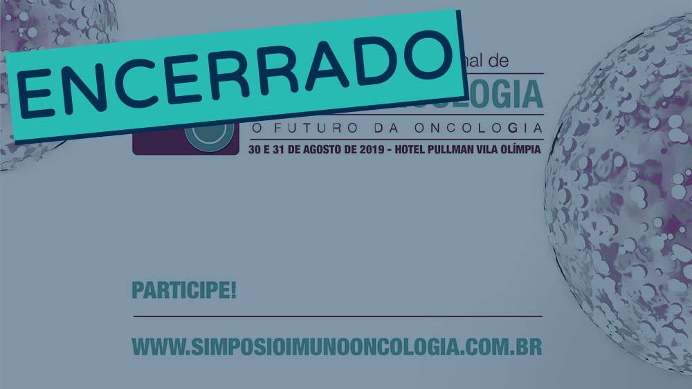 Banner do quinto simpósio de imuno-oncologia encerrado.
